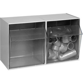 Quantum Tip Out Storage Bin QTB302 - 2 Compartments Gray