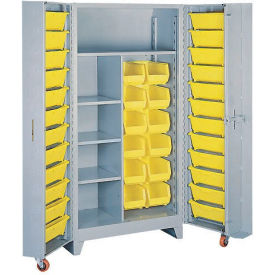 Lyon Storage Cabinet With1 Full Shelf 5 Half Shelves 36 Tilt Bins DD1128 - 38x28x76 Gray