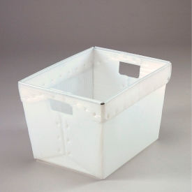 Corrugated Plastic Postal Tote Without Lid 18-1/2x13-1/4x12 Natural - Pkg Qty 10