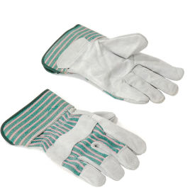 "Leather Palm Safety Gloves with 2-1/2"" Safety Cuff - 12 Pair"