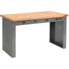 """72""""W x 36""""D Panel Leg Workbench With Power Apron and Maple Butcher Block Square Edge Top"""