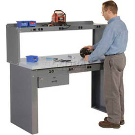 """96""""W x 36""""D Panel Leg Workbench With Power Apron and Plastic Laminate Square Edge Top"""