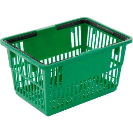 "Plastic Shopping Basket with Plastic Handle, Large, 19-3/8""L X 13-1/4""W X 10""H, Green, Good L ® - Pkg Qty 12"