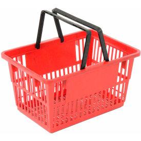 "Plastic Shopping Basket with Plastic Handle, Large, 19-3/8""L X 13-1/4""W X 10""H, Red, Good L ® - Pkg Qty 12"
