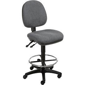 Interion™ Synchro Task Stool - 360° Footrest Without Arms - Gray
