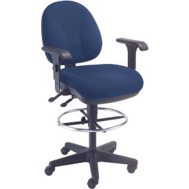 Interion™ Synchro Task Stool - 360° Footrest With T-Arms - Blue