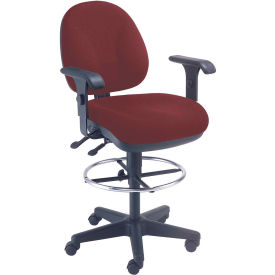 Interion™ Synchro Task Stool - 360° Footrest With T-Arms - Burgundy