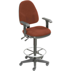 Interion™ Synchro Operator Stool - 360° Footrest With T-Arms - Burgundy