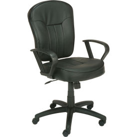 Pneumatic Task Leather Office Chair With Loop Arms Leather Black
