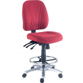 Interion™ Synchro Manager Stool - 360° Footrest Without Arms - Burgundy
