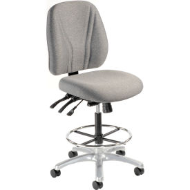 Interion™ Synchro Manager Stool - 360° Footrest Without Arms - Gray