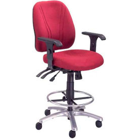 Interion™ Synchro Manager Stool - 360° Footrest With T-Arms - Burgundy