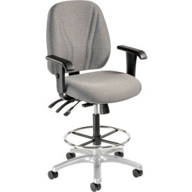 Interion™ Synchro Manager Stool - 360° Footrest With T-Arms - Gray