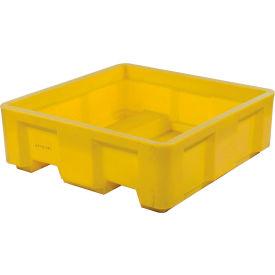 "Dandux Forkliftable Single Wall Skid Bulk Container 512165Y - 36"" x 20"" x 17-1/2"", Yellow"