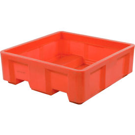"""Dandux Forkliftable Single Wall Skid Bulk Container 51-2141RD - 48"""" x 48"""" x 17-1/2"""", Red"""