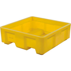 "Dandux Forkliftable Single Wall Skid Bulk Container 512144Y - 48"" x 48"" x 30-1/2"" Yellow"