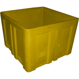 """Dandux Forkliftable Double Wall Skid Bulk Container 51-2118YL - 44"""" x 44"""" x 31-1/2"""", Yellow"""