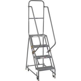 "Grip 16""W 4 Step Steel Rolling Ladder 10""D Top Step"