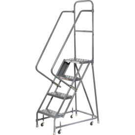 """Perforated 16""""W 4 Step Steel Rolling Ladder 10""""D Top Step"""