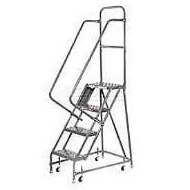 """Perforated 16""""W 4 Step Steel Rolling Ladder 20""""D Top Step"""