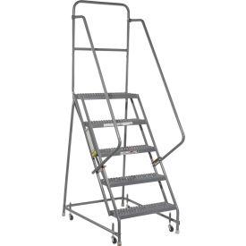 "Grip 16""W 5 Step Steel Rolling Ladder 10""D Top Step"