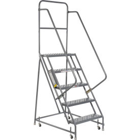 "Perforated 16""W 5 Step Steel Rolling Ladder 10""D Top Step"