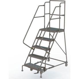 "Grip 16""W 5 Step Steel Rolling Ladder 20""D Top Step"