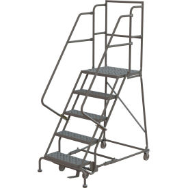 """Perforated 16""""W 5 Step Steel Rolling Ladder 20""""D Top Step"""