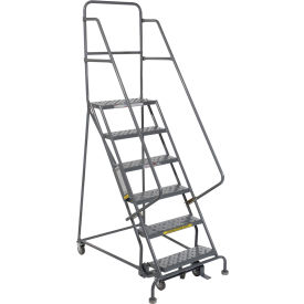 """6 Step 24""""W 10""""D Top Step Steel Rolling Ladder - Perforated Tread"""
