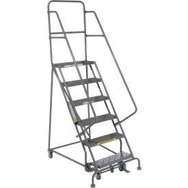 "6 Step 24""W 20""D Top Step Steel Rolling Ladder - Grip Tread"