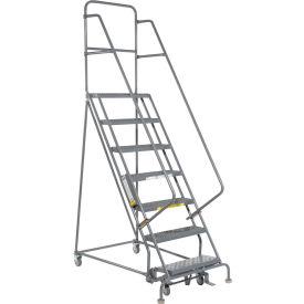 "7 Step 24""W 10""D Top Step Steel Rolling Ladder - Grip Tread"