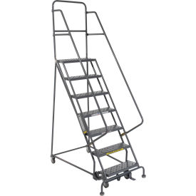 """7 Step 24""""W 20""""D Top Step Steel Rolling Ladder - Perforated Tread"""