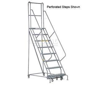 "8 Step 24""W 20""D Top Step Steel Rolling Ladder - Grip Tread"
