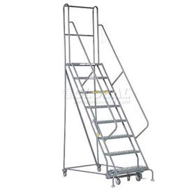 """8 Step 24""""W 20""""D Top Step Steel Rolling Ladder - Perforated Tread"""