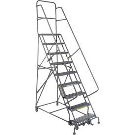 "9 Step 24""W 10""D Top Step Steel Rolling Ladder - Grip Tread"