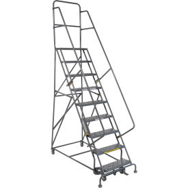 "9 Step 24""W 20""D Top Step Steel Rolling Ladder - Perforated Tread"