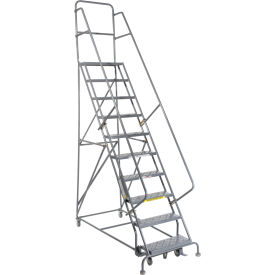 """10 Step 24""""W 20""""D Top Step Steel Rolling Ladder - Perforated Tread"""