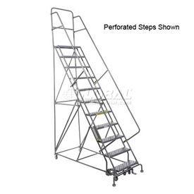 "11 Step 24""W 20""D Top Step Steel Rolling Ladder - Grip Tread"