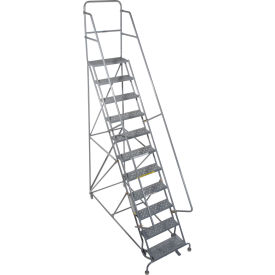 """11 Step 24""""W 20""""D Top Step Steel Rolling Ladder - Perforated Tread"""