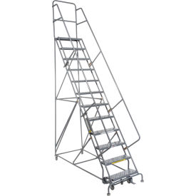 """12 Step 24""""W 20""""D Top Step Steel Rolling Ladder - Perforated Tread"""