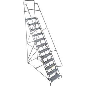 "14 Step 24""W 10""D Top Step Steel Rolling Ladder - Grip Tread"