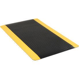 "Diamond Plate Ergonomic Mat 15/16"" Thick 36""x60"" Black/Yellow Border"