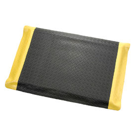 "Diamond Plate Ergonomic Mat 15/16"" Thick 36""W Cut Length 1Ft Up To 75Ft, Black/Yellow Border"