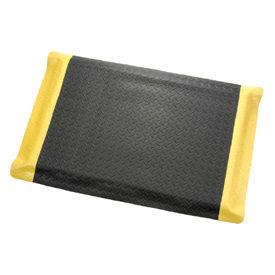 "Diamond Plate Ergonomic Mat 15/16"" Thick 48"" Wide Black/Yellow Border Up To 75ft"