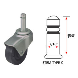 Deluxe Series Chair Caster with Hard Rubber Wheel, Stem Type C