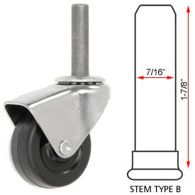 Hooded Type Series Chair Caster with Soft Rubber Wheel, Stem Type B