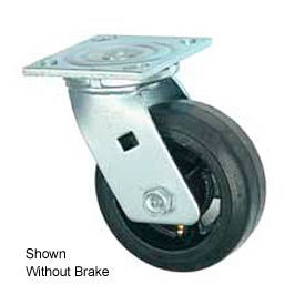 """Faultless Swivel Plate Caster 1418-5RB 5"""" Mold-On Rubber Wheel with Brake"""