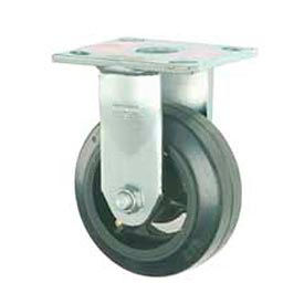 """Faultless Rigid Plate Caster 3418-5 5"""" Mold-On Rubber Wheel"""