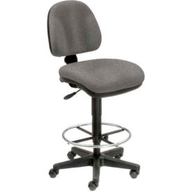 Interion™ Body Sensitive Fabric Stool - 360° Footrest Without Arms - Gray