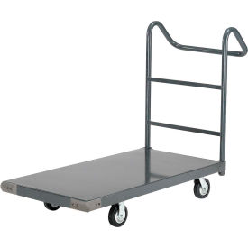 "Steel Deck Platform Truck 48 x 24 1000 Lb. Capacity 5"" Polyurethane Casters with Ergo Handle"